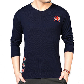 Men's Fashion O-collar Pullovers Sweater Casual Knit Sweater Solid Color Slim Fit Tops