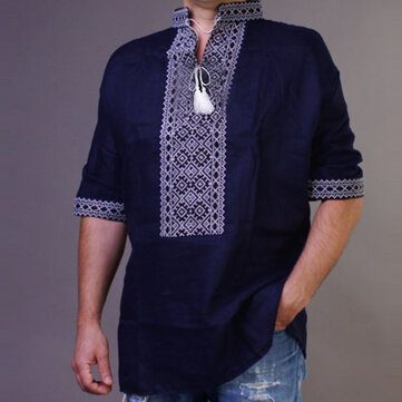 Mens Vinatge Ethnic Style Embroidered Casual Loose Tops T-shirts