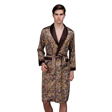 Mens Imitation Silk Pajamas Autumn Sleepwear Long Sleeve Home Dress Robe