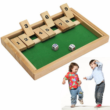 Wooden Box Traditional Pub Board Dice Mathematic Game For Family Kids Childrens