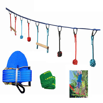 50ft Slackline Kits Outdoor Extreme Sport Balance Trainer Rope Kids Swinging Obstacle Course Set