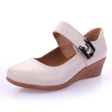 Casual Soft Platform Heels Buckle Round Toe Dancing Shoes