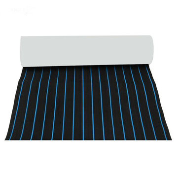600x2300x5mm EVA Foam Black With Blue Lines Boat Flooring Faux Teak Decking Sheet Pad