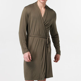 Mens Sexy Modal Home Solid Color Bathrobe Sleepwear Robes