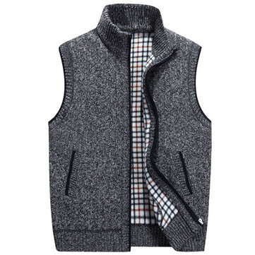 Mens Casual Loose Knitted Vest Winter Sleeveless Sweater Stand Collar Zipper Cardigan 6 Color
