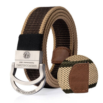 125CM Mens Double Ring Alloy Buckle Belt Outdoor Canvas Military Tactical Jeans Strip