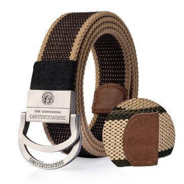 Fibbia lega in lega doppia ad anello uomo da 125 cm. Cintura Striscia militare tattica Jeans Canvas esterna