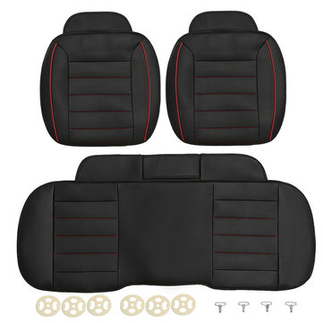 3pcs PU Leather Car Front Rear Seat Covers Universal Protector Cushion Pad Mat