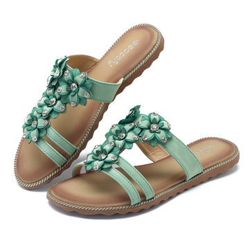 SOCOFY Women Sandals Beach Bohemian Flat Slippers