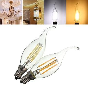 E14 LED 4W COB Edison Retro Filament Light White/Warm White Tungsten Candle Lamp Bulb AC 220V