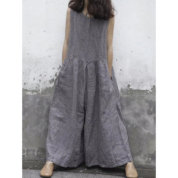 Women Sleeveless Plaid Overalls Wide Leg Jumpsuits