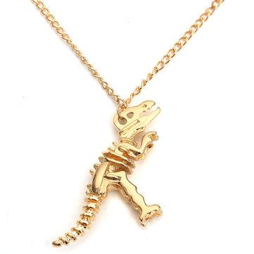 Silver Gold Plating Vintage Dinosaur Skeleton Necklace Metal Chain