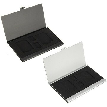 4 in1 Metal Aluminum Memory Card Storage Holder Box Protector Case for 2xTF 2xSD