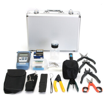 FTTH Fiber Optic Cable Tester Tool Kit with Fiber Cleaver/Power Meter/Stripper/Fault Locator