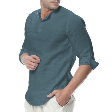 24166dcd086 Παραγγελία από GearBest INCERUN Mens Cotton Button Neck Casual Long Sleeve  Slim Fit Shirt Tee Tops αξιόπιστα απο Κινα