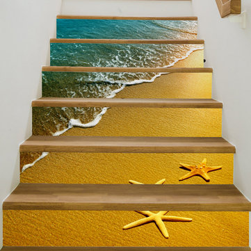 Miico 6Pcs/set Beach Pattern Creative Stair Sticker Home Decor Mural Art Removable Wall Decals
