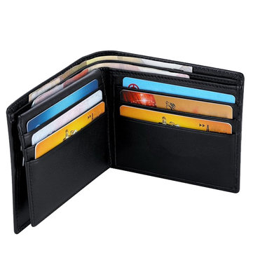 RFID Blocking Genuine Leather Wallet Magnetic Capacity Card Package