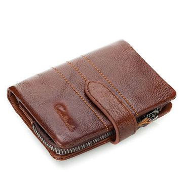 Men Wallet Genuine Leather Zip Coin Pocket Men Purse Money Bag Credit Card Holders
