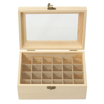 24 Grid Wooden Box Show Case with See Through Window for Essential Oils