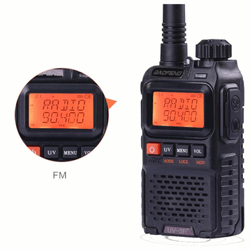 BAOFENG UV3R Plus Mini Walkie Talkie UHF VHF Dual Band Dual Display Full Channels FM Radio Flashlight