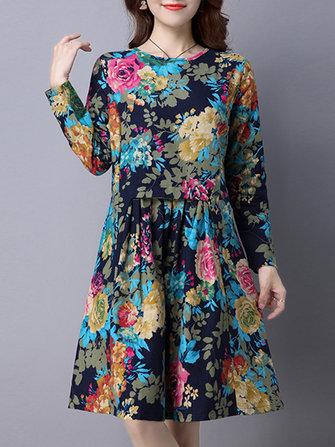 Maglia a manica lunga a pieghe stampati floreali etnica da tasca d'epoca vestono