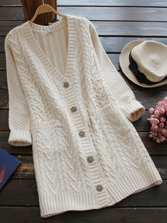 Casual Women Pure Color Long Sleeve V-Neck Knitted Cardigan with Pocket