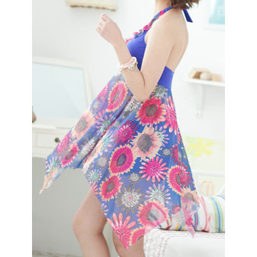 Plus Size Halter Printed Two Pieces Backless Swimdress