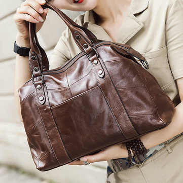 Women Vintage Stitching Genuine Leather Handbag Crossbody Bag