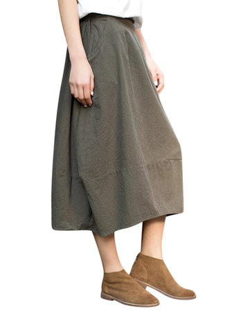 Retro Women Elastic Waist Pure Color Pocket A-Line Lantern Skirts