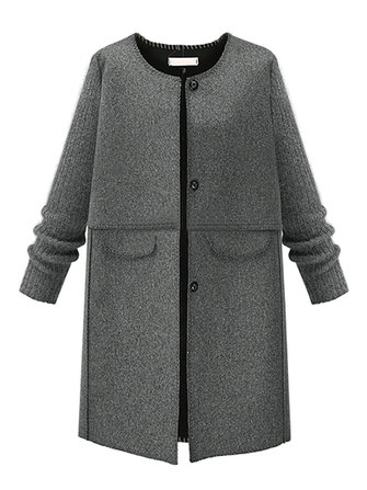 Elegant Gray Knit Patchwork Round Neck Women Woolen Coat