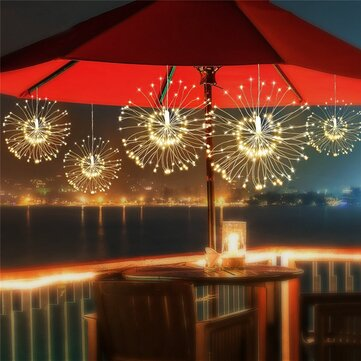 Solar Powered 200LED 8 Modes Outdoor DIY Firework Starburst Fairy String Christmas Holiday Light