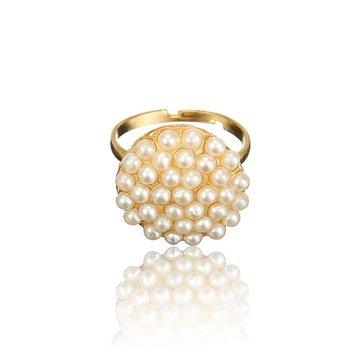 1PC Gold White Pearl Beads Alloy Finger Ring For Women Adjustable