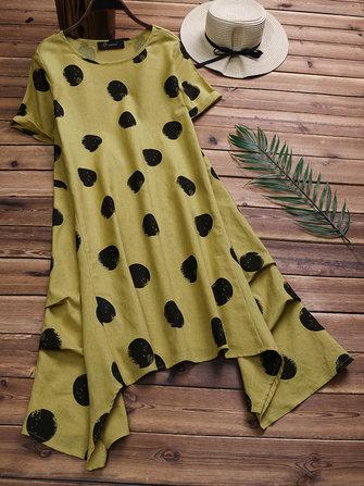 Cotton Polka Dot Short Sleeves Asymmetrical Dress