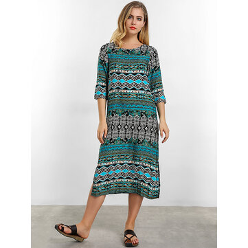 O-NEWE Chinese Style Geometric Printed Midi Dress
