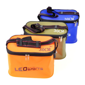 LEO 30cm 34cm EVA Folding Water Bucket Outdoor Carp Fishing Tool Foldable Water Tank With Belt