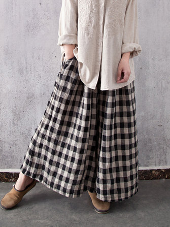 Women Casual Plaid Cotton Wide Leg Pants Elastic Waist Harem Trousers