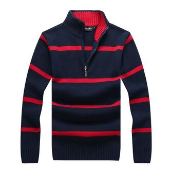Mens Autumn Winter Stripe Stand Collar Zipper Sweater Casual Slim Fit Pullover Knitwear