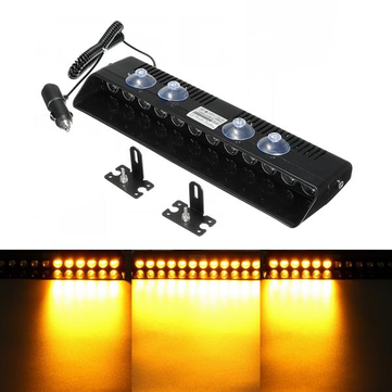 12V 12 LED 12W Yellow Car Vehicle Emergency Strobe Flash Warning Light Flashing Lights