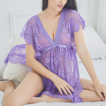 Comfort Lace Double V Straps See Through Nightgown Women Lingerie