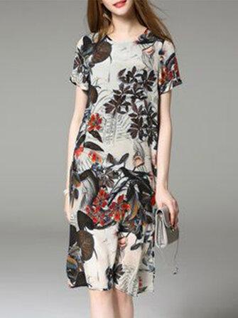 Floral Short Sleeve O-neck Split Mini Dress