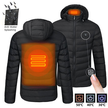 Mens USB Heated Warm Back Cervical Spine Hooded Winter Jacket Motorcycle Skiing Riding Coat