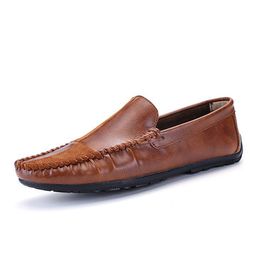 Men Genuine Leather Stitching Flats Loafers Driving Shoes