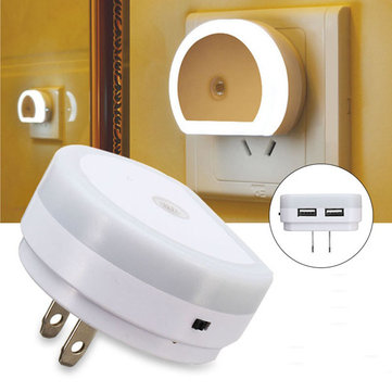 Intelligent Light Control Sensor LED Night Wall Light with USB Port AC110-240V