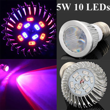 5W E27 6 Red 4 Blue Convex Mirror Grow LED Bulb Greenhouse Plant Seedling Growth Light
