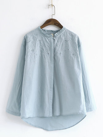 Sweet Embroidery Hollow Blouse