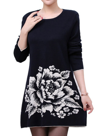 Elegant Floral Printing Long Sleeve Knitted Women Sweater Dress