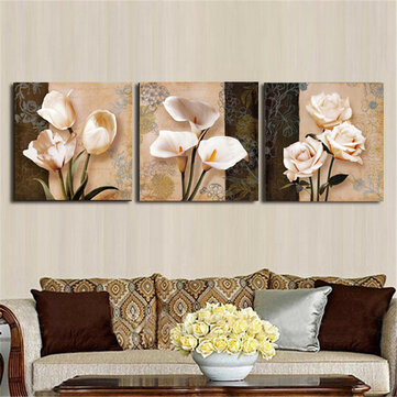 3Pcs Orchid Rose Flower Combination Painting On Canvas Frameless Drawing Home Wall Decor Paper Art