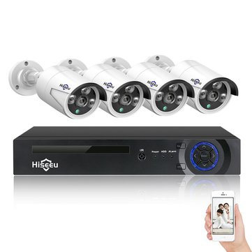 Hiseeu 8CH 4MP POE Security Camera System Kit H.265 IP Camera Outdoor Waterproof Home CCTV Video Surveillance NVR Set