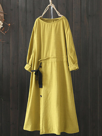 Women Drawstring Waist Long Sleeve Solid Vintage Dress