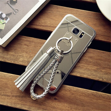 TPU Edge Shockproof Tassel Ornament Mirror Back Case Cover for Samsung Galaxy S7 G9300